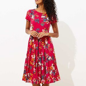NWT LOFT pink short sleeve floral midi dress